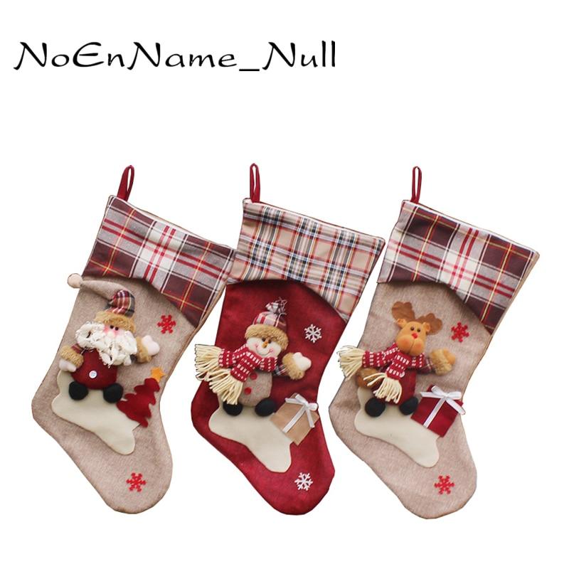christmas stocking plaid santa claus sock gift bag kids xmas noel decoration candy bag bauble. Black Bedroom Furniture Sets. Home Design Ideas
