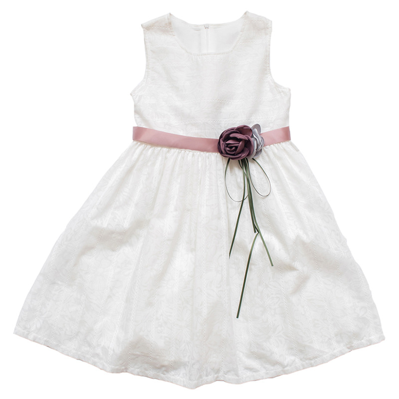 Cute Kids Girls Lace Party Dress Princess Girl Summer Sleeveless Sundress Dresses with Belt Children Clothes White 2-11Y CC951 floral dresses children crochet girls baby kids clothing 3 4 sleeve princess lace tutu brief party mini white dress girl 2 11y