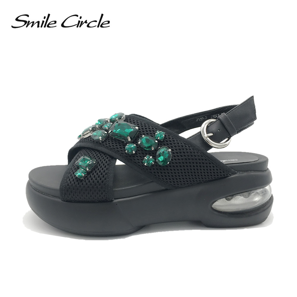 Smile Circle 2017 Summer Style Sandals Women Genuine Leather Shoes Fashion Rhinestones Platform Sandal Casual Open Toes slipper1 ибп eaton 9130 3000va on line 103006437 6591