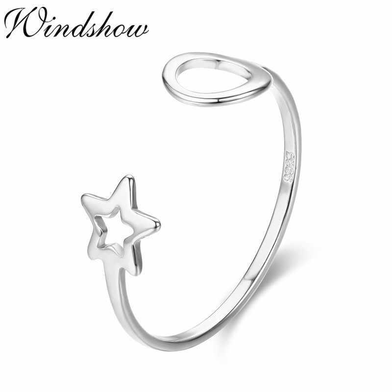 Милые кольца из чистого серебра 925 пробы с полной луной и звездой для женщин девушек ювелирные изделия пальцы рук и ног Anillos Bague Argent Aneis ювелирные изделия Анильо