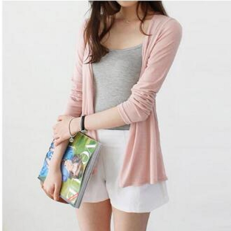 MLXSLKY Summer clothing knit cardigan sweater female shawl long-sleeved thin air-conditioned shirt womens thin knit  cardigan