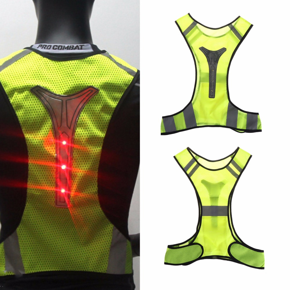 Cycling Reflective Vest LED Outdoor Safety Jogging Sportswear Night Mesh Breathable Visibility Running Tops With Lights