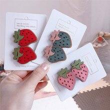 3sets/lot Korean Synthetic Leather Strawber Hair Clips Cute Kids Cartoon Rabbit Headwear Carrot Hairpins  Accessories