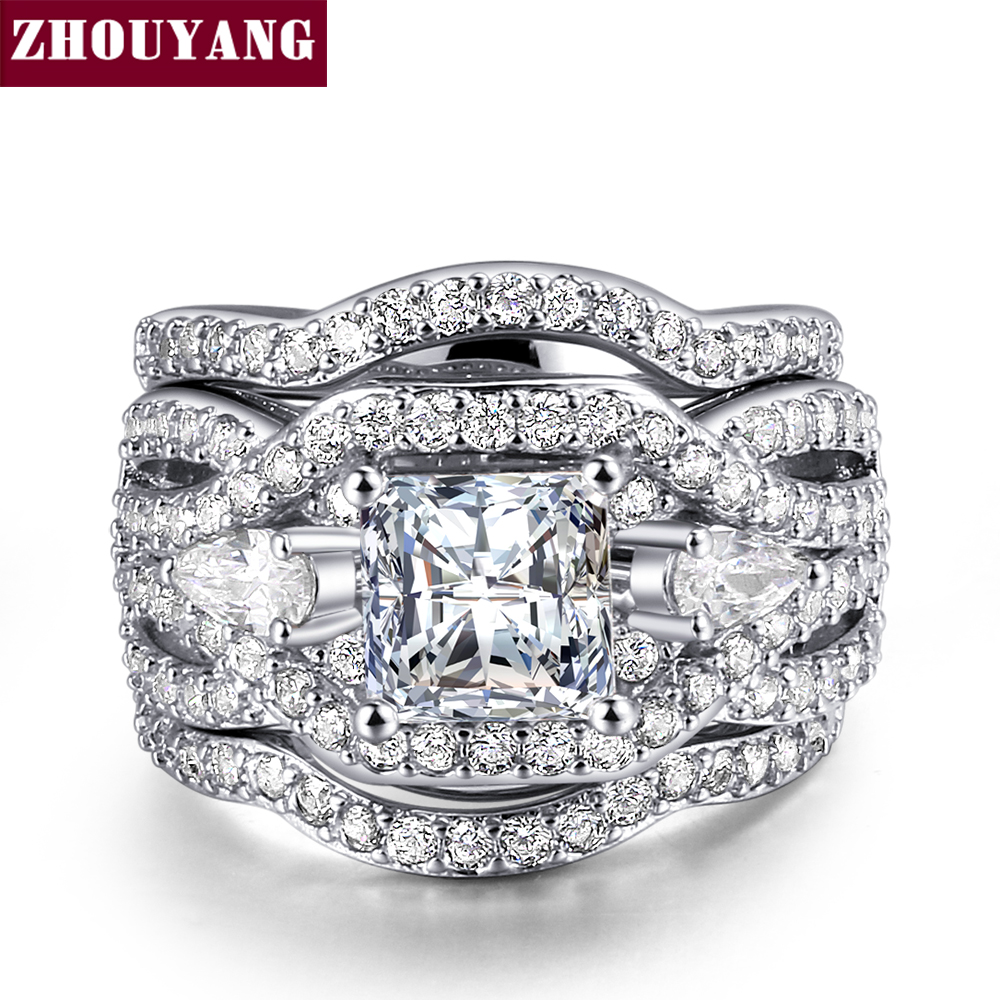 Classic Marquise shape Cubic Zirconia 3 Rings Sets Silver Color Party Wedding Jewelry For Women Gift ZYR643 ZYR711