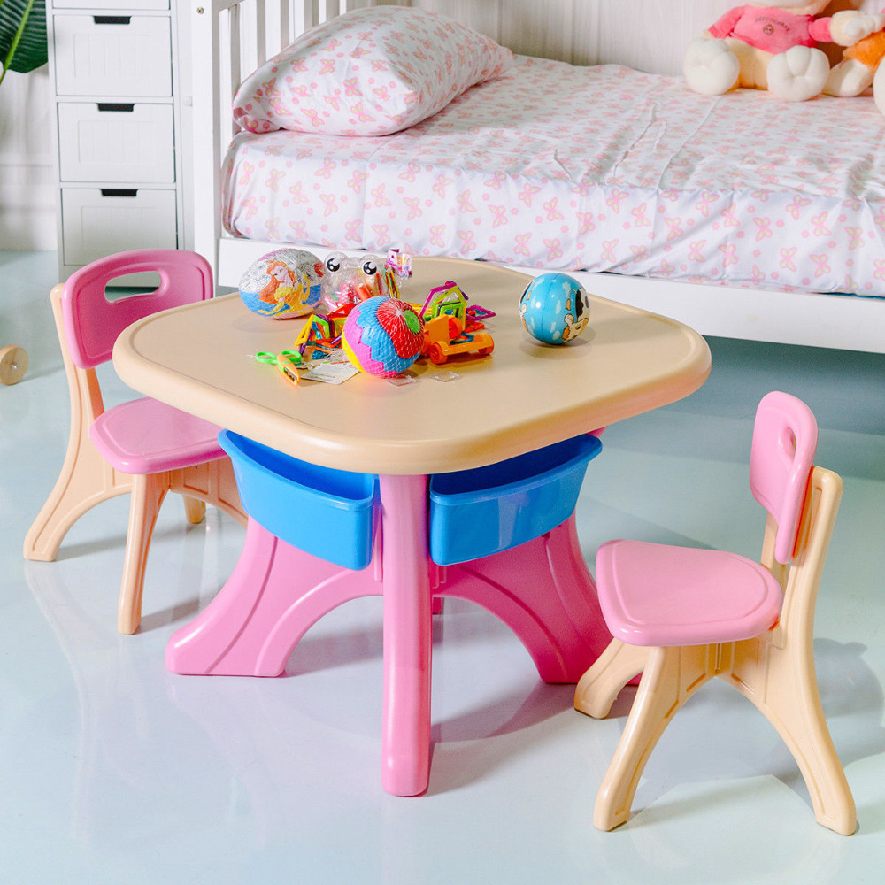 Plastic Children Kids Table & Chair Set 3-Piece Play Furniture In/Outdoor HW56085