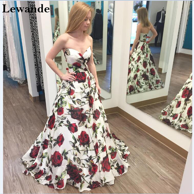 7ae6a01e75 Lewande Floral Print Sweetheart Prom Homecoming Dresses Seniors A Line  Strapless Princess Cheap Pattern Satin Bridesmaid Gown