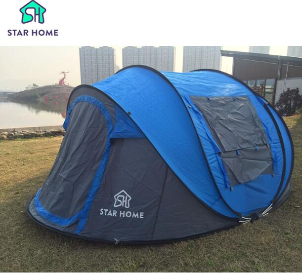 Star home Large throw tent!outdoor 3-4persons automatic speed open throwing pop up waterproof beach camping tent 2 second open outdoor camping hiking automatic camping tent 4person double layer family tent sun shelter gazebo beach tent awning tourist tent