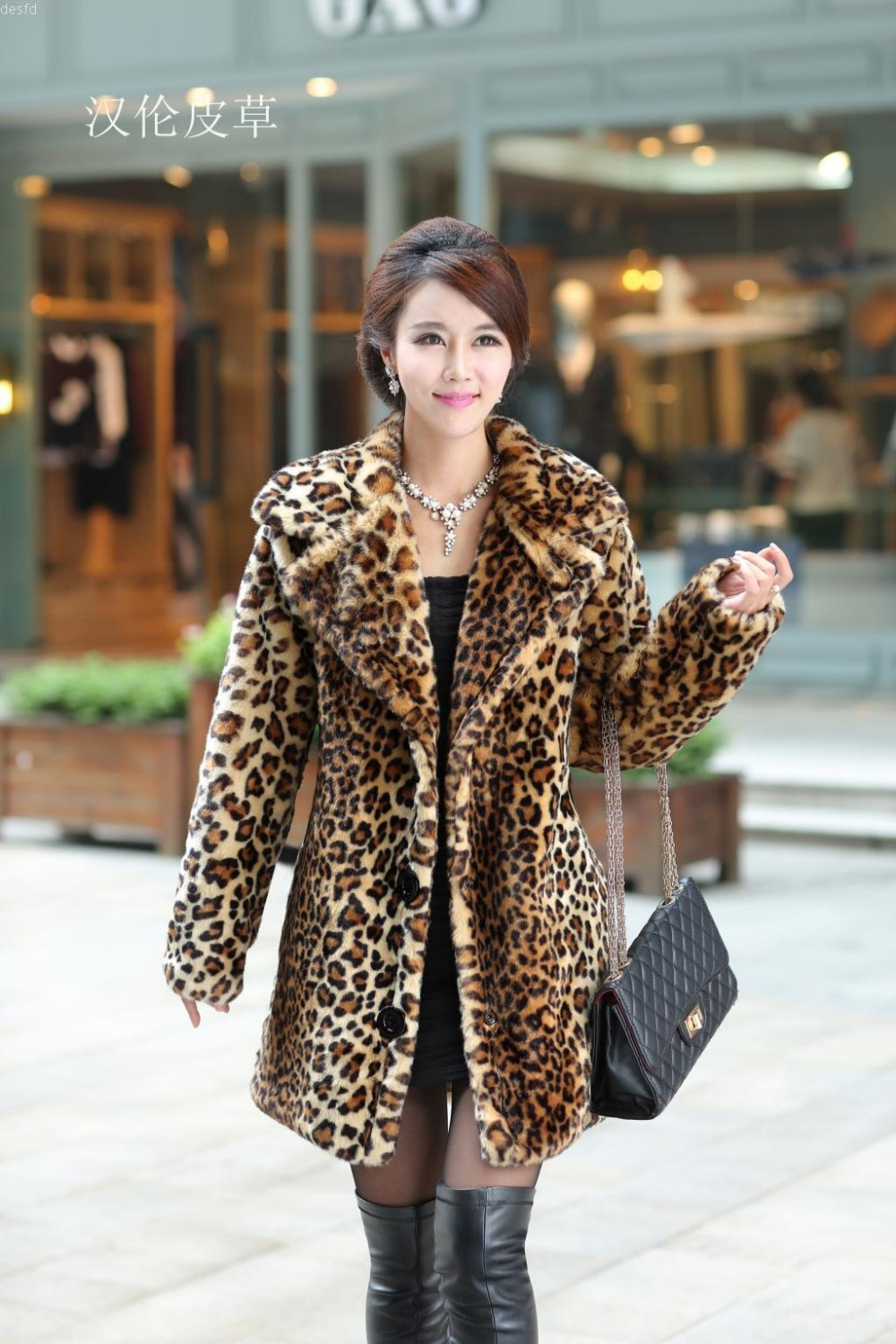Women Winter Warm Leopard Rabbit Fur Jacket Long Turn Down