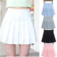 Girls A Lattice Short Dress High Waist Pleated Tennis Skirt Uniform with Inner Shorts Underpants for Badminton Cheerleader(China)
