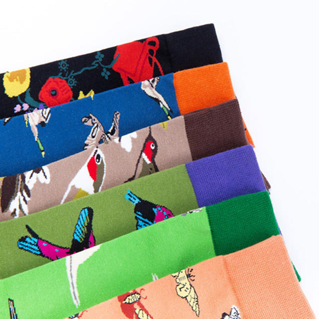 [WPLOIKJD]New Hip Hop Art Wedding Men Socks Cartoon Bird Personality Skateboard Colorful Happy Socks Creative Calcetines Hombre