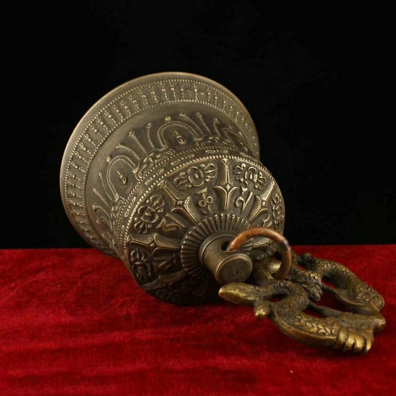 Décoration de mariage 6 recueillir Tibet bouddhisme Temple cuivre Bronze Dragon Statue suspendue cloche Chung - 6