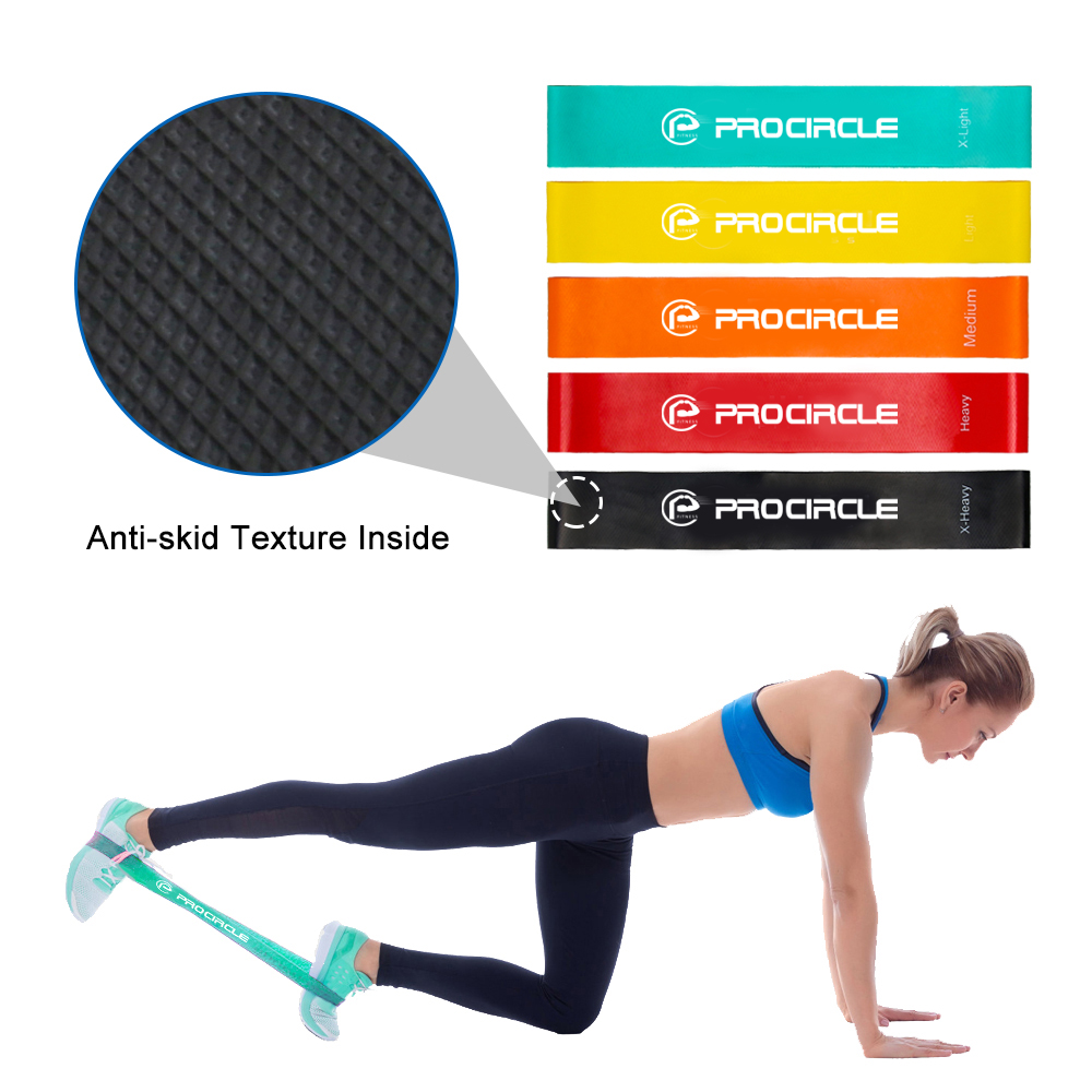 Procircle Resistance Band Set Of 5 With Bag- Exercise Bands Workout Bands Loop For Legs Butt Glutes Yoga Crossfit Fitness