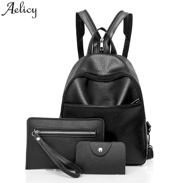 3f408350b9 Aelicy Famous Designer Backpack Women Black Leather Zipper Strap Shoulder  Bag Girls School Backpack Travels Bags Bag Set C30