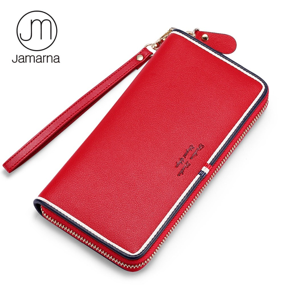 Jamarna Purse Genuine Leather Wallet Women Long Zipper Women Purse Classic Red White And Blue Long Clutch Phone Wallet Female jamarna brand wallet female genuine leather long clutch women purse with phone holder women wallets fashion crocodile leather