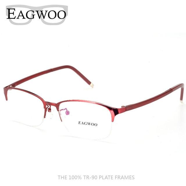 86accf71e3b Metel Alloy TR Temple Eyeglasses Half Rim Optical Frame Prescription  Spectacle Reading Myopia Round Glasses 52687