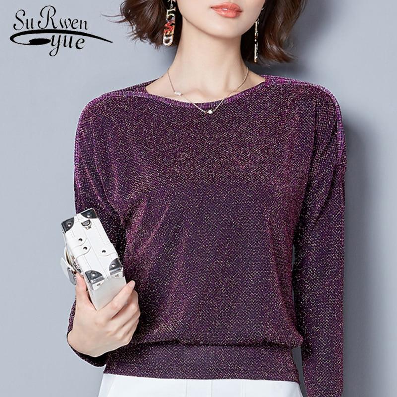 Tops de mujer 2018 moda de manga larga blusa de mujer suelta más tamaño Blusa de encaje púrpura azul ropa de mujer blusas 83J 30
