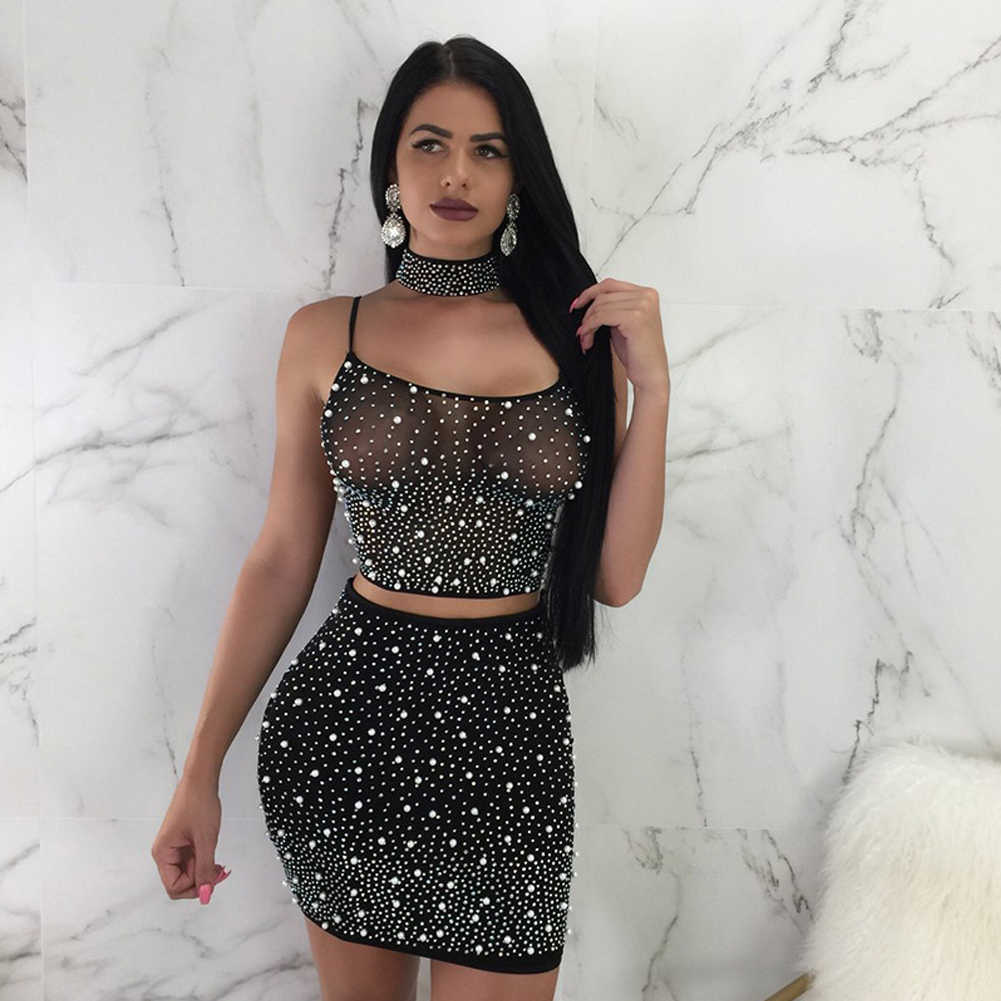 Sexy Summer Women 2 Pieces Sets Sleeveless Bandage Top Bodycon Mini Skirt Crop Top and Skirt Sets Evening Party