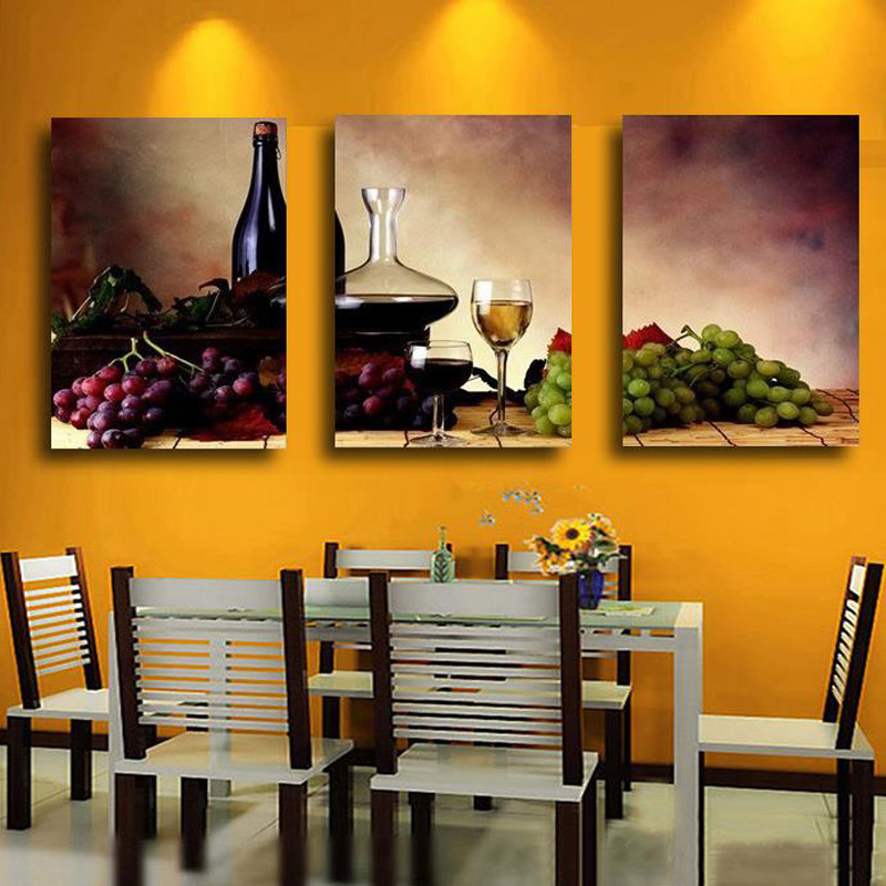 Unframed 3 Panel Retro Abstract Wine Grape Fruit Vintage Home Wall Decor Print Painting On Canvas For Kitchen Wall Art Picture