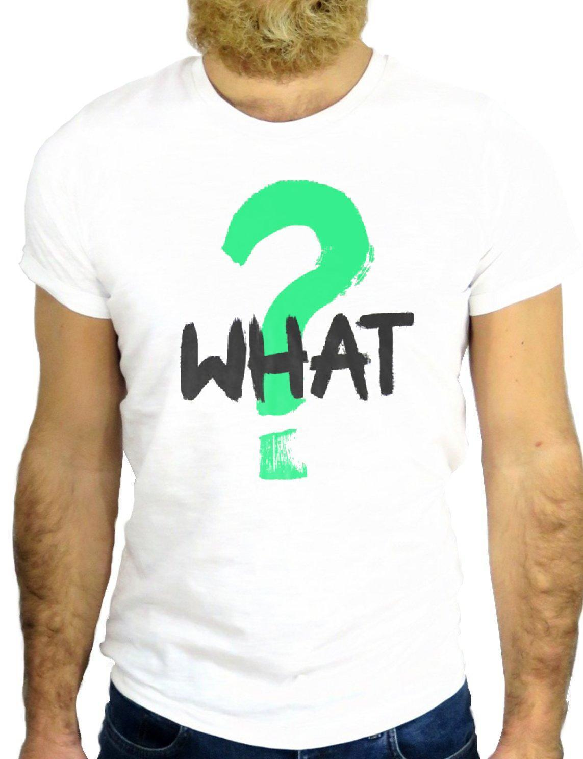 Cool Fashion WHAT ? Lifestyle Question Mark Printed T-shirts For Men size S-3XL
