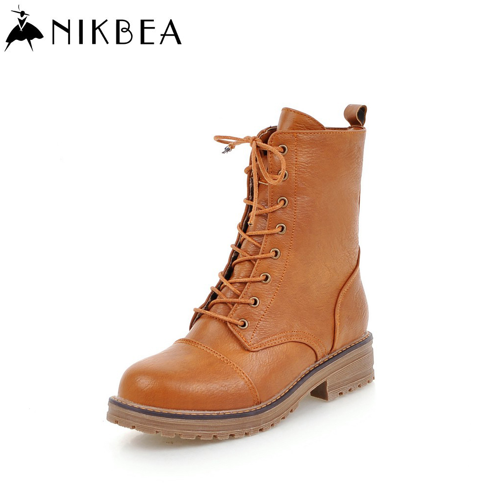Nikbea Handmade Vintage Women Lace Up Martin Boots Large Size 2016 Winter Boots Autumn Shoes Booties Flat Boots Botas Mujer Pu nikbea handmade genuine leather western boots cowboy large size women pointed toe boots 2016 autumn shoes fashion botas mujers