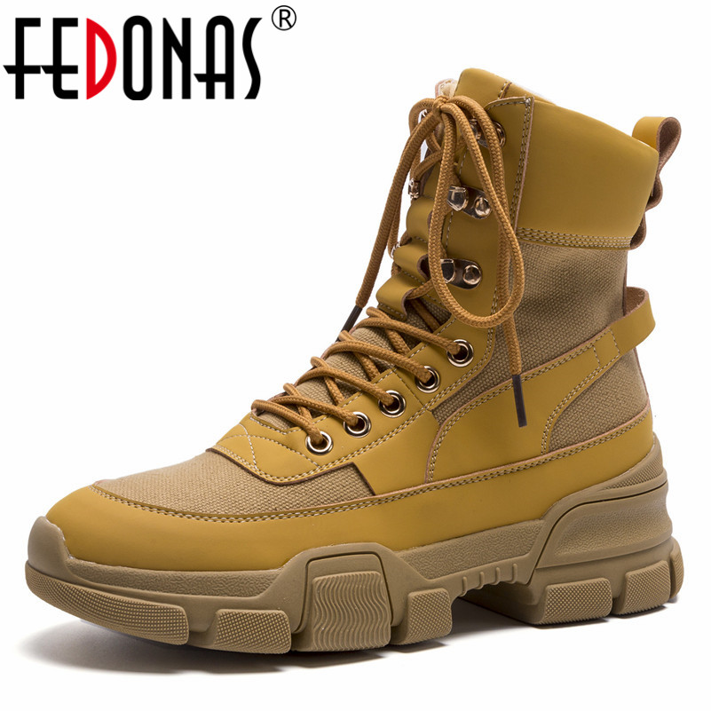 FEDONAS Brand Women Ankle Boots High Heels Autumn Winter Short Martin Shoes Woman Lace Up Motorcycle Boots Female Platforms Shoe