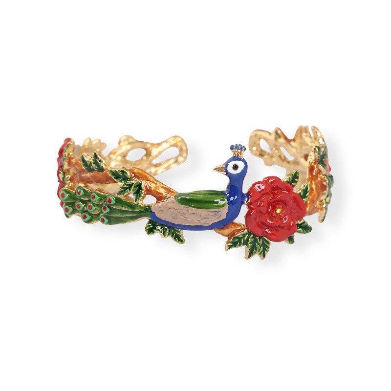 Warmhome Trendy Jewelry Enamel Glaze Copper Original Ethnic Green Peacock Red Flowers Plants Women Open Bracelet nakzen men watches top brand luxury clock male stainless steel casual quartz watch mens sports wristwatch relogio masculino