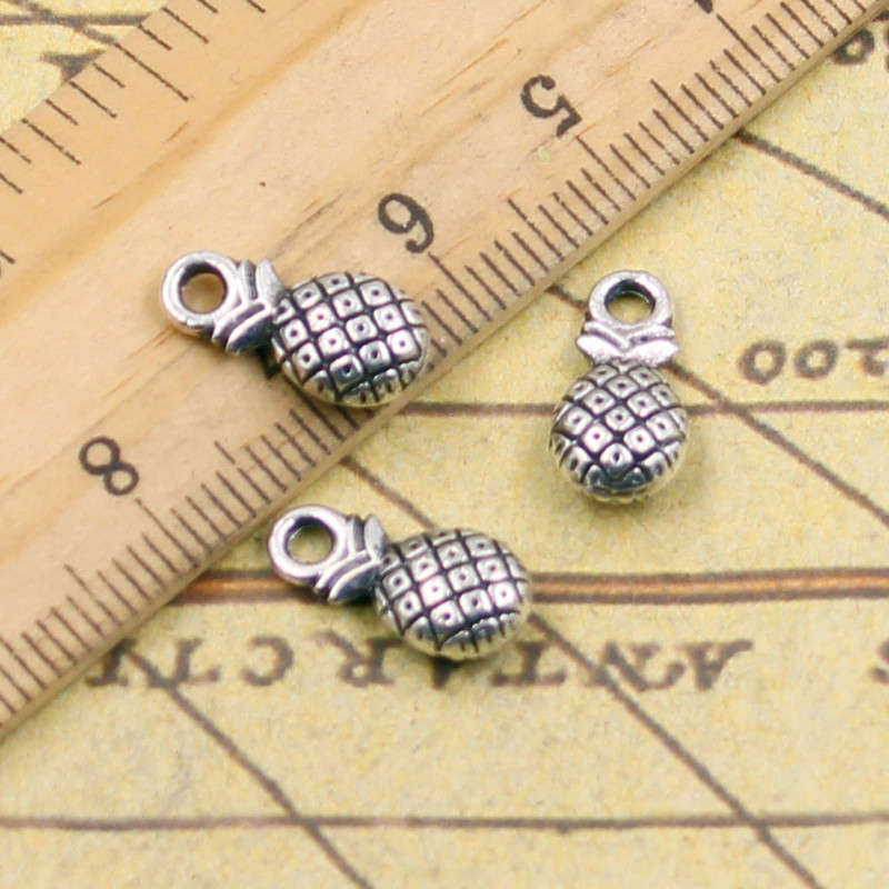 10pcs Charms double sided pineapple 14*7mm Tibetan Silver Plated Pendants Antique Jewelry Making DIY Handmade Craft