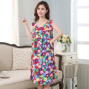 Image 5 - Camisón Floral de talla grande para mujer, ropa de dormir, Camisón de algodón, Pijama de dormir, l xxxl
