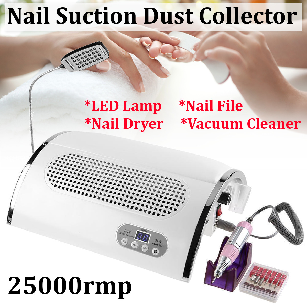 3 In 1 Strong Power 54W Nail Fan Art Salon Suction Dust Collector Vacuum Cleaner Nail