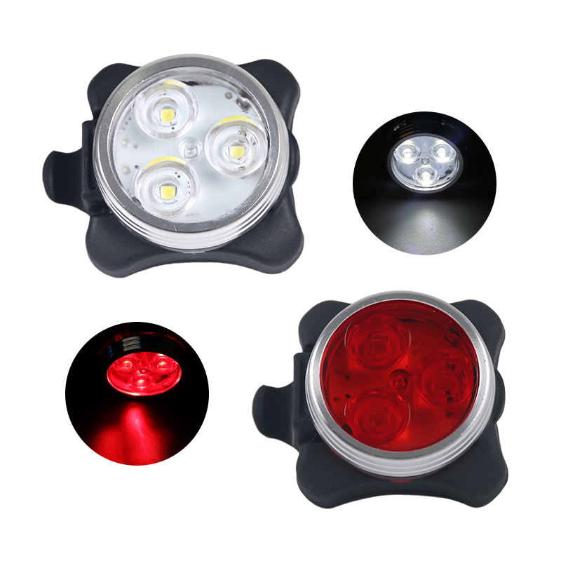 2PCS/Lot Bicycle Rear Head Light USB Rechargeable 3 SMT LED Tail Front Lamp Safety Visual Warning Indication Lantern Red White gaciron bicycle headlight rear light suite pack usb charge internal battery led front tail lamp cycling lighting visual warning