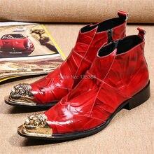 Fashion Red Zip Männer Wohnungen Eisen Spitz Stiefeletten echtes Leder Botas Hombre Cowboy Militärstiefel Kleid Schuhe Männer stiefel