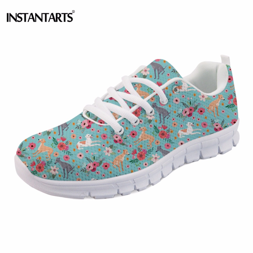INSTANTARTS Fashion Women Flat Shoes Cute Animal Greyhound Flower Print Female Mesh Flat Shoes Casual Comfortable Female Sneaker instantarts cute glasses cat kitty print women flats shoes fashion comfortable mesh shoes casual spring sneakers for teens girls
