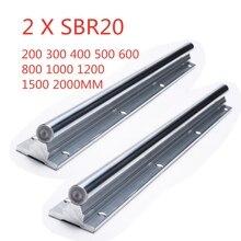 2Pcs SBR20 200 2000มม.คู่มือเชิงเส้นSBR20 Linearแบริ่งบล็อคสำหรับชิ้นส่วนCNC 20มมrail