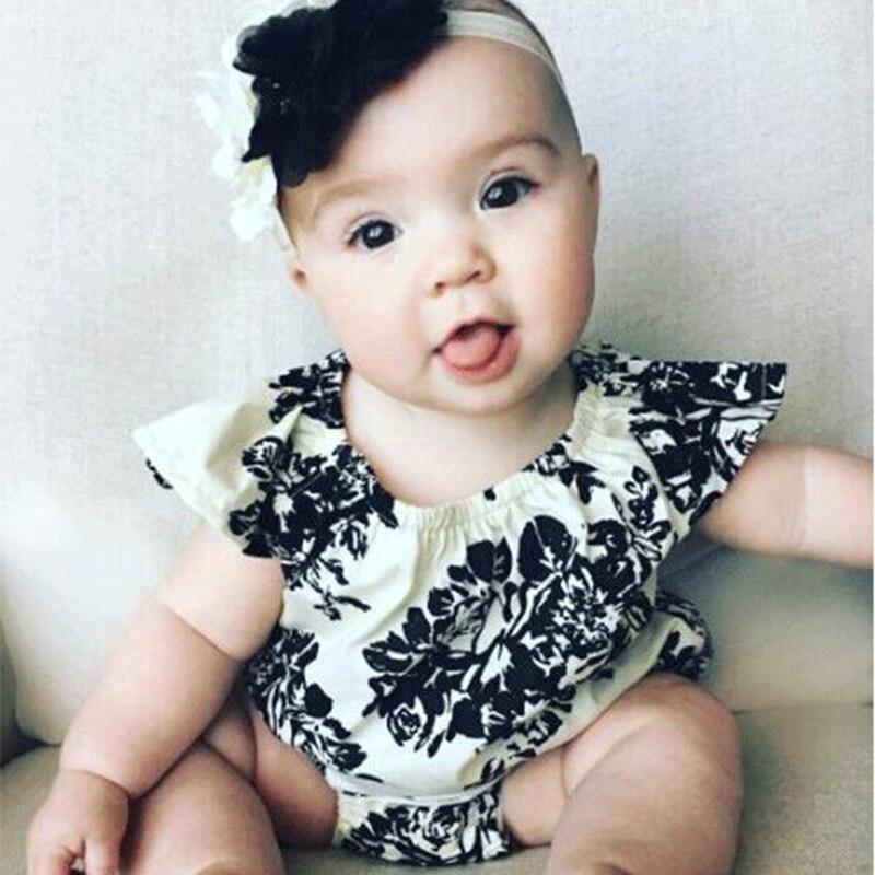Lovely Kids Romper Flower Floral White And Black Flutter Sleeve Girl Kids Casial Romper Playsuit Baby Onesie Short Sleeve 2018