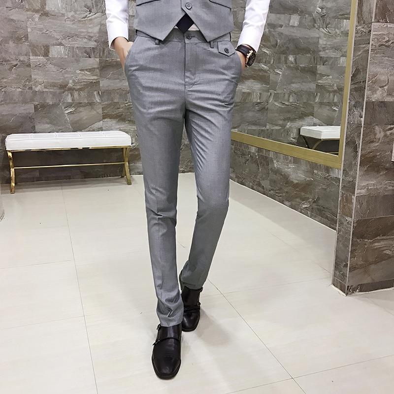 Fine Cotton Groom's Best Man Wedding Dress Men's Fashion Pure Color Formal Suit Pants Male Casual Premium Brand Pants Trousers