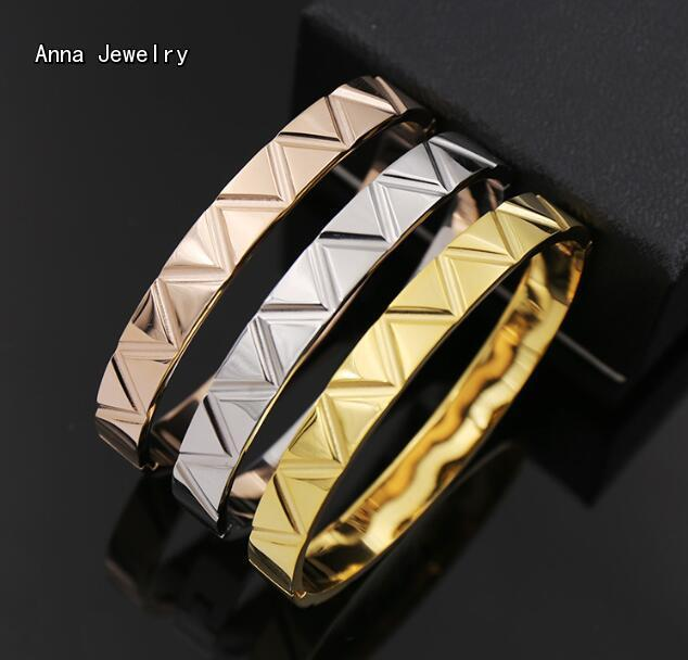 New Fashion Designer Wave Style Cuff Bracelet,Precision Stainless Steel Material in 3 Gold Plated Colors,A Joyful Gift for Women