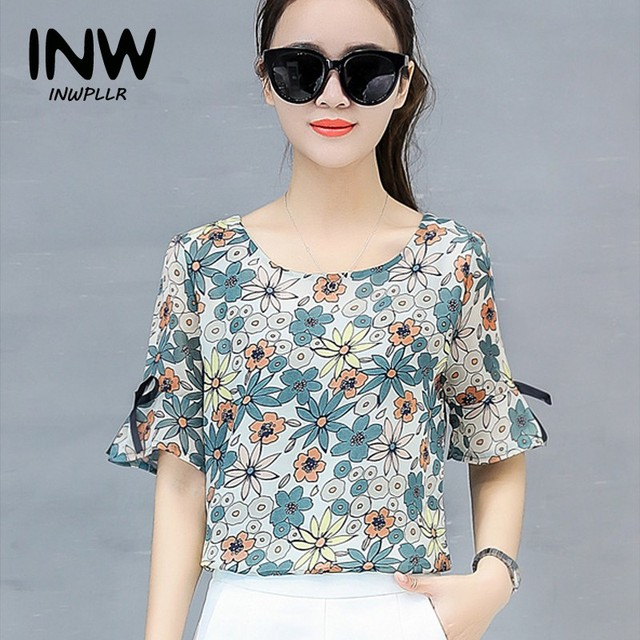8a717efe4fe 2018 Womens Tops And Blouses Summer Chiffon Blouse Floral Print Shirts  Female Fashion Short Sleeve O-neck Blusas Femininas