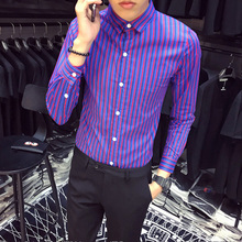 Long Sleeve Shirt Men Purple Striped Slim Fit Fashions Designer For Prom Dress Social Clothing Chemise Homme 3XL
