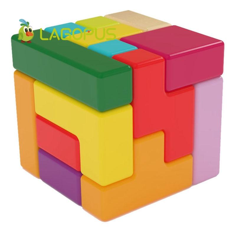 Lagopus educación temprana cubo rompecabezas juguetes Varieti B & lock desarrollo lógica Thicking juguetes de madera regalo para niños - 1