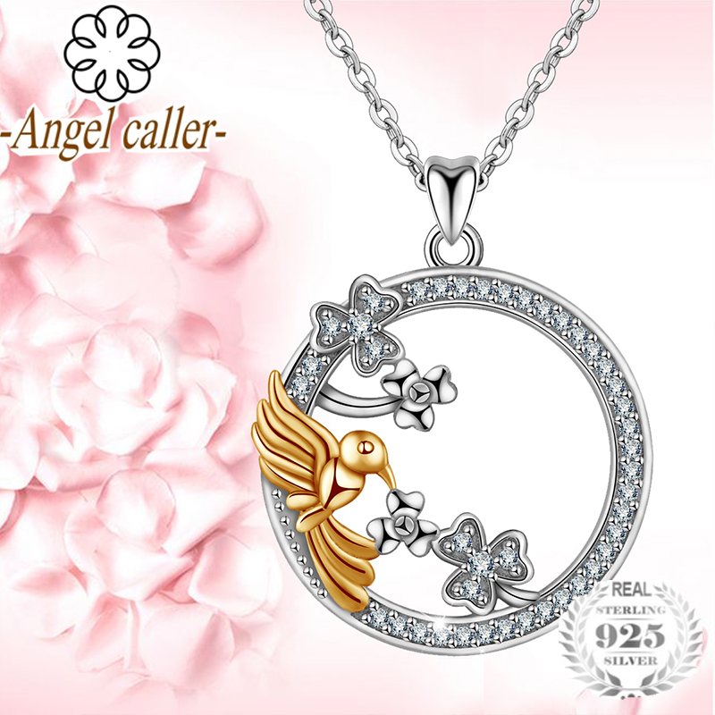 Angel Caller 925 Silver Gold Lovebirds Flower Pendants Necklace Round CZ Necklaces Zircon Fine Jewelry For Women Grils Gifts