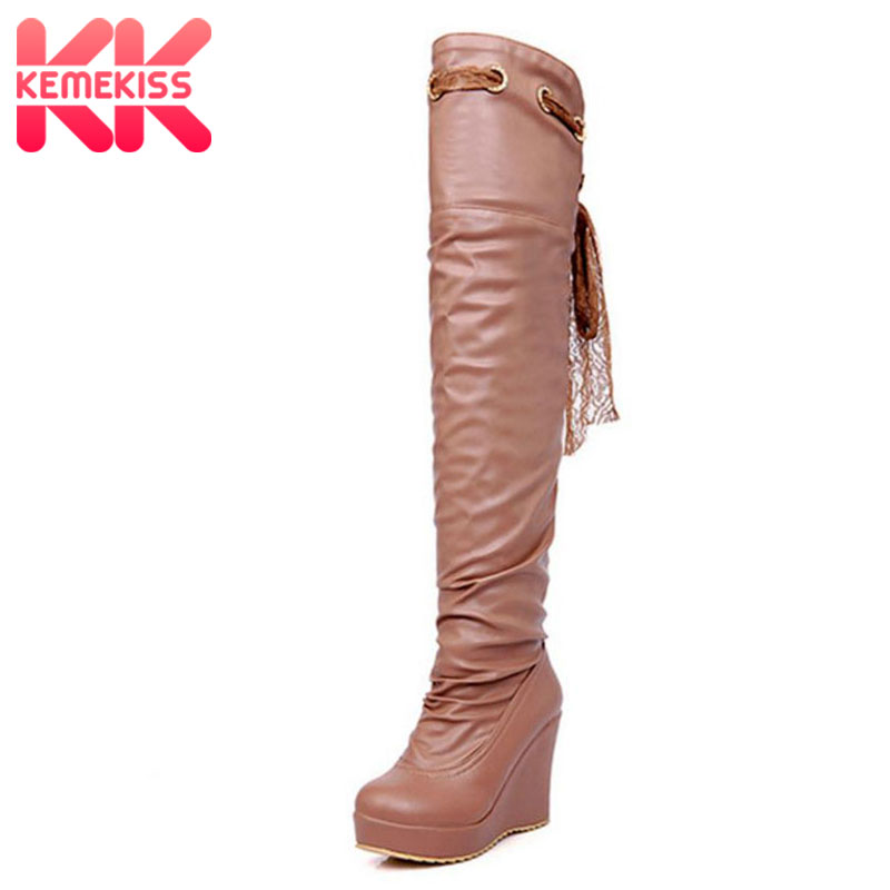 KemeKiss Free shipping knee boots women snow winter footwear high heel shoes sexy warm long boot P7334 EUR size 34-39 free shipping over knee high heel boots women snow fashion winter warm footwear shoes boot p15646 eur size 30 49