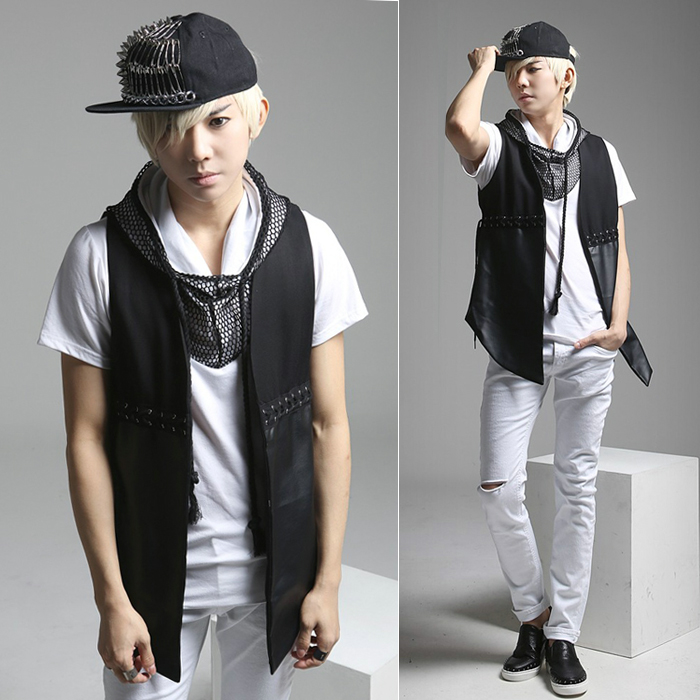 2016 Spring Korean Style Punk Rock Summer Vest Jacket Men Pu Leather Sleeveless Black Color In