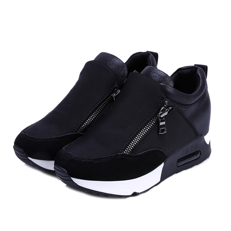 Platform Shoes Woman Fashion Sneakers Women Casual Side Zipper Air Cushion Increased Internal Office Lady Student Nurse Shoes