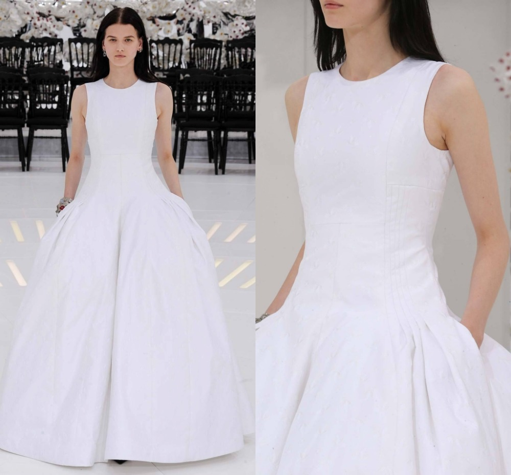f848c56a5e1d White Ball Gown Graduation Gowns Semi Formal Dresses Scoop Neck Sleeveless  With Pockets Floor Length Vestido De Festa Longo-in Homecoming Dresses from  ...