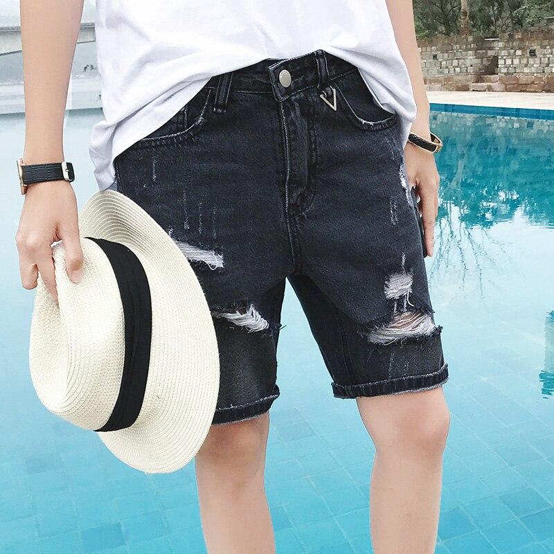 Men Denim Shorts 2017 New Summer Regular Casual Knee Length Short Zipper Hole Jean Shorts For Men Fashion Causal Jeans