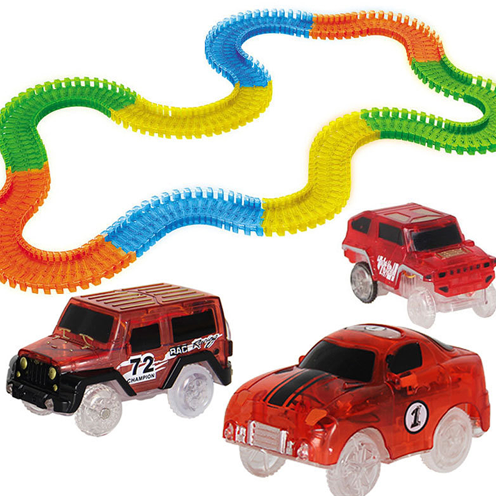 56/165/220Pcs Bend Flexible Curve Glowing Race Track Set Magic Plastic Racing Track With LED Light Car DIY Toys For Children