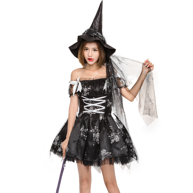Free shipping Hallowen adult Womens Magic Moment Black witch Cosplay Costume dress with hat