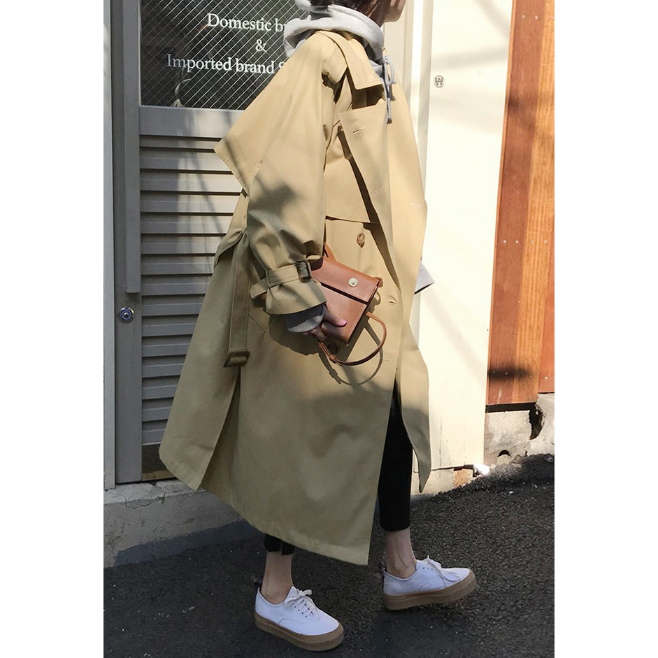 Spring Autumn New Women's Casual Trench Coat Oversize Double Breasted Vintage Outwear Sashes Chic Cloak Female Windbreaker 7