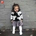 Crianças Camisola morna Para Meninas Moda Manga Comprida Black & White Bear Crianças Meninos Camisola Roupas de Malhas Roupas Para O Bebê 12M-5A