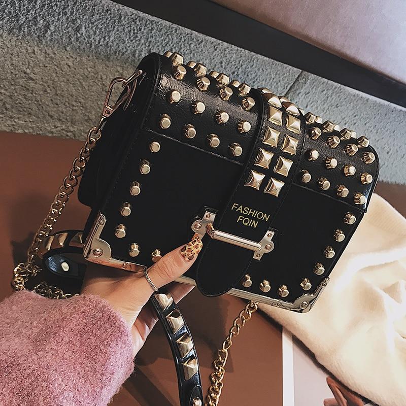 Luxury Brand Vintage Rivet Bag 2019 Fashion New High Quality PU Leather Women's Designer Handbag Chain Shoulder Messenger Bag